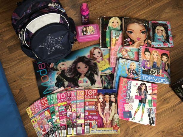 Mega zestaw Top model plecak,bidon,ksiazki,magazyny,podkladka na biurk