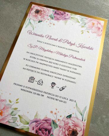 Zaproszenia ślubne z lustrzanym podkładem piwonie eustoma różne wzory