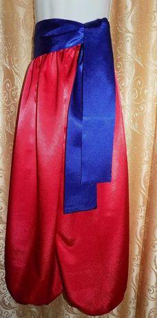 Шаровары детские красные с синим поясом