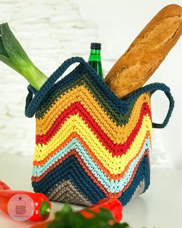 Ręcznie robiona torba na ramię, torebka koszyk ze sznurka