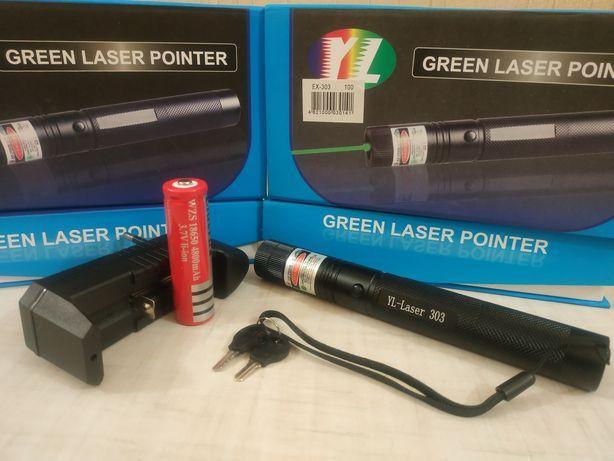 Зелёная лазерная указка с ключами, лазер Laser 303 Green 1000mW