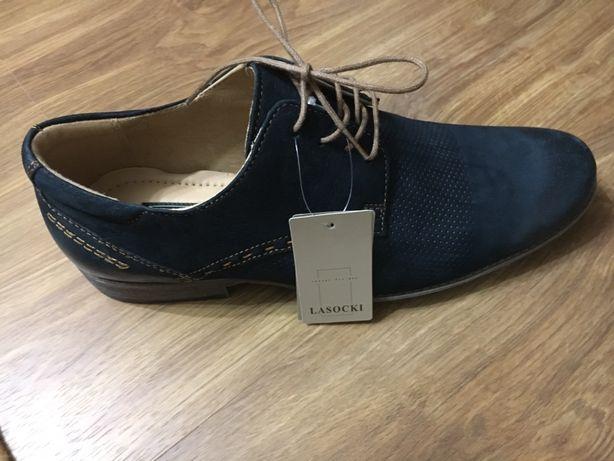 Lasocki casual for men новые туфли мужские кожаные Польша