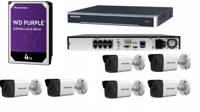 Zestaw Monitoringu Ip Hikvision 6 Kamer 4Mpx Poe