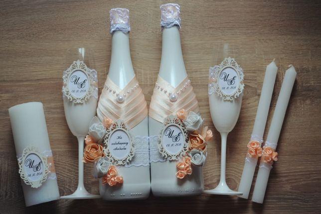 Свадебная атрибутика шампанское, бокалы, свечи, казна, подушечка и др.