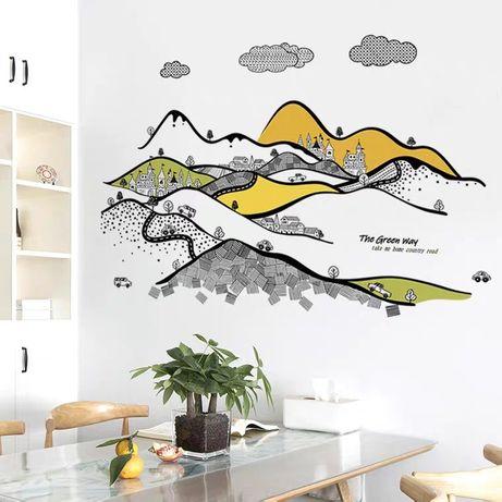 Интерьерная наклейка на стену обои Горный пейзаж замокдекор