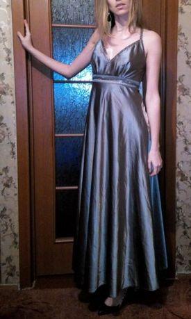 Вечернее платье длинное серое серебристое атлас, ночнушка