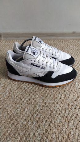 Бело-черные кроссовки Reebok 41 р, кожаные кросовки
