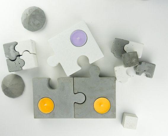 """Komplet świeczników z betonu """"puzzle dazzle"""""""