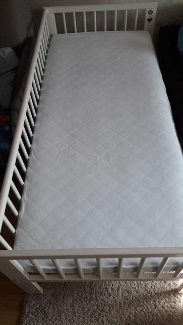 Łóżko dziecięce białe IKEA z materacem 160×70
