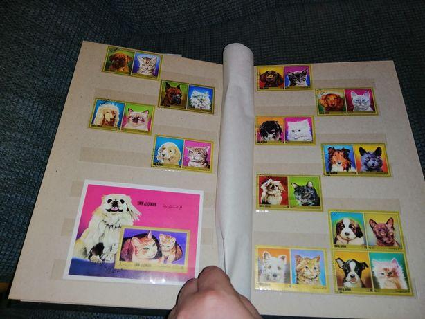 Альбом марок коты собаки животные