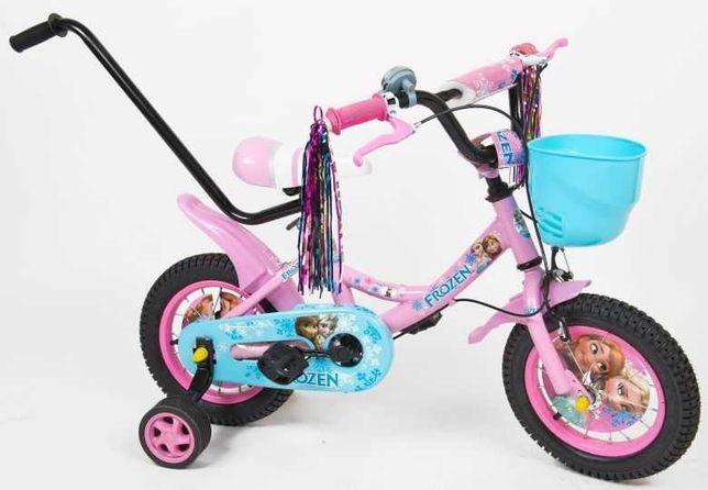 Rowerek 12  16  dla dziewczynki bajkowy frozen koszyk tasmy prowadnik