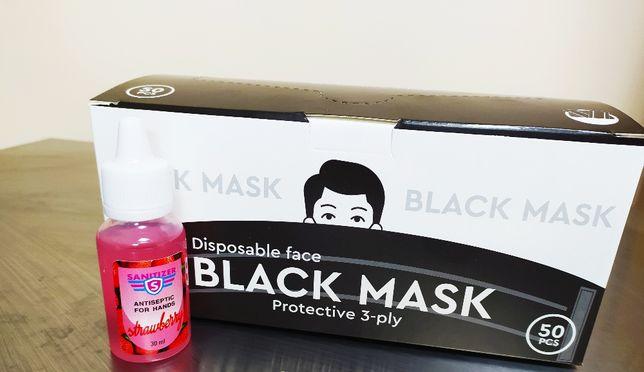 Чорні Маски Защитные Черные. 3 Слоя, Фиксатор. Коробка 50шт+Подарок