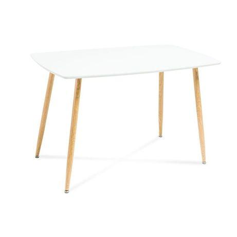 Stół SIMON biały lakierowany + nogi metal w kolorze dąb