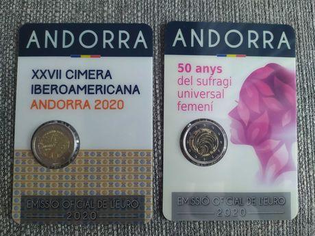 Niski numer!!! 2 x 2 euro okol. Andora Andorra 2020 Prawa + Szczyt