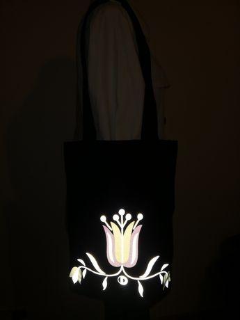 Eko torba odblaskowa. Motyw ludowy jamneński. Handmade. Rękodzieło.