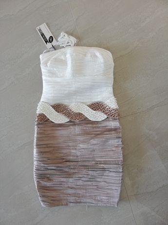 Sukienki biała i różowa /na komunie chrzest wesele 18stke (NOWE)