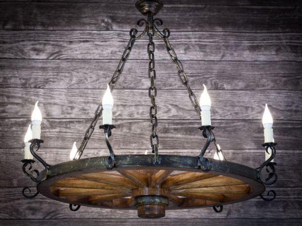 Wyjątkowe oświetlenie do domu drewnianego Lampa z koła 110 cm