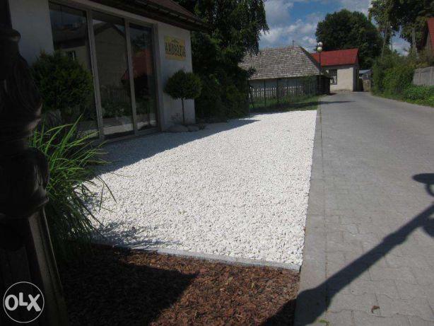 Biały grys żwir kalcytowy kamień ozdobny ogrodowy
