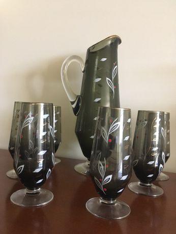 Conjunto de jarro e 6 copos antigos pintados à mão