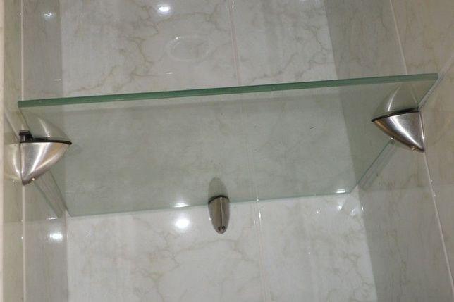 cztery szklane półki z mocowaniami