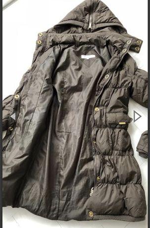 Пальто пуховик коричневое , размер S