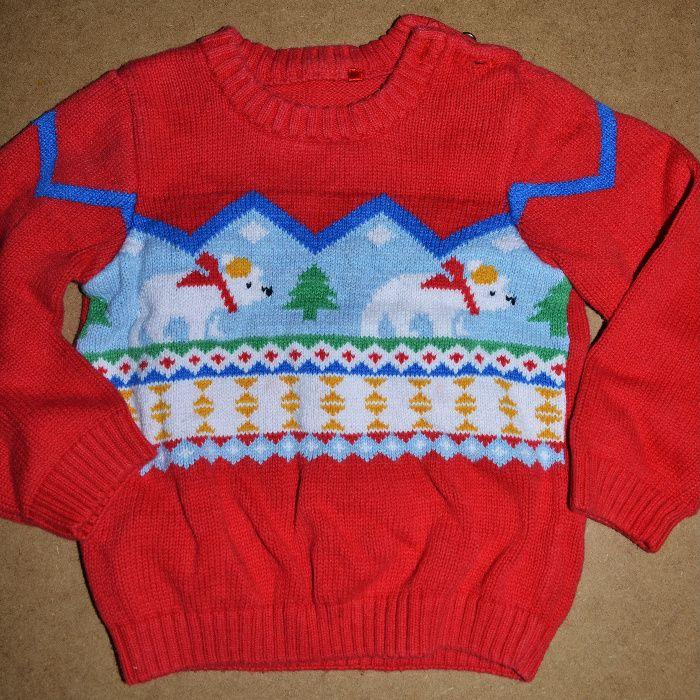 597^tu świąteczny sweter wzór 9-12 msc 74/80 cm Sochaczew - image 1