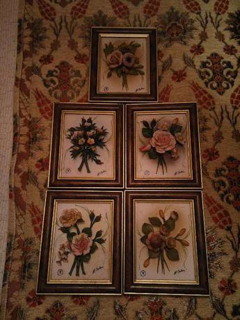 5 quadros em relevo de flores