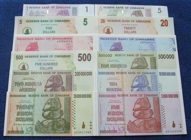 ZIMBABWE - Komplet Banknotów Kolekcjonerskich w Stanie UNC ZESTAW