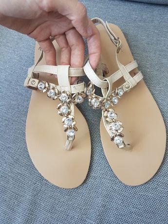 Sandały beżowe 40 kamienie nude
