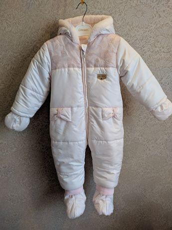 Зимний комбинезон для девочки, на 1 год, 74 размер. 80 размер