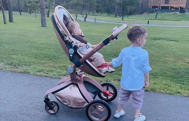 Детская прогулочная коляска Hot Mom золотистая