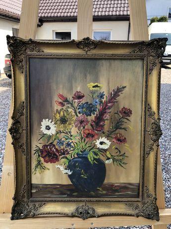 Piękny stary obraz malowany na płótnie kwiaty w złotej ramie sprawdź
