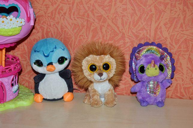 Мягкие игрушки глазастики (лев, пингвин, динозаврик)