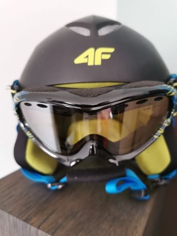 Kask narciarski dziecięcy 4F i gogle 4F