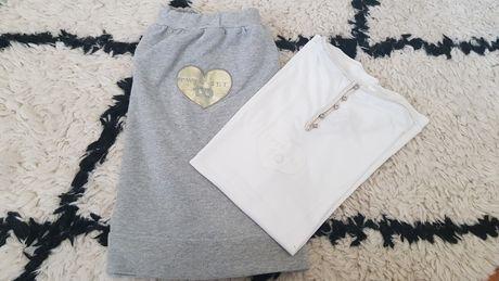 Twin Set komplet spódnica z bluzką złota poświata