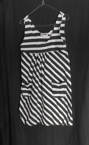 biało czarna sukieneczka w paski Trend