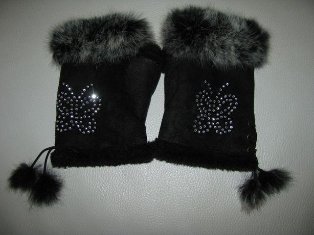 Перчатки без пальцев митенки натуральный мех