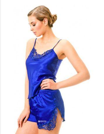 Майка + шорты Primoda 025 M Синие Пижама шёлковая