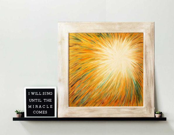 Ezoteryczny obraz olejny. Biało złota oprawa. 48 x 48 cm