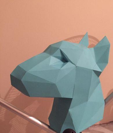 Бультерьер. 3Д скульптура. Papercraft. Папье-маше. Бумага. Паперкрафт
