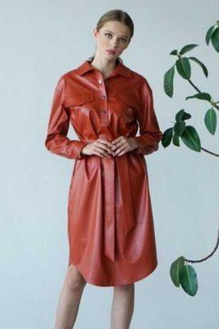 Нарядное миди платье еко-кожа Vovk