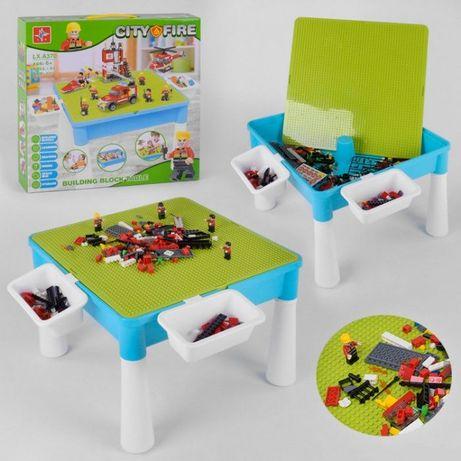 Детский столик + конструктор лего для игры, рисования, песка, воды
