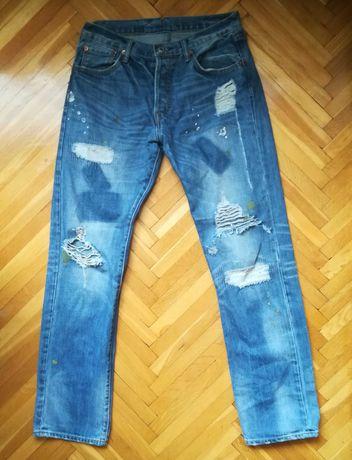 Levis 501 XX fabryczne dziury przetarcia plamy spodnie jeansy dżinsy