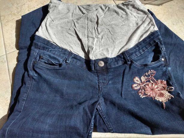 Spodnie ciążowe dżinsy z kwiatkiem r.40