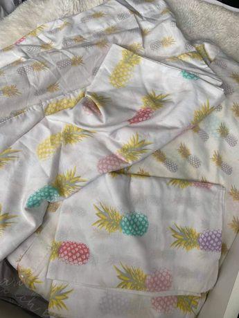 Biała dwustronna pościel ananasy kolorowa 200x220