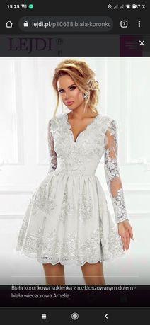Sukienka biała rozkloszowana Emu
