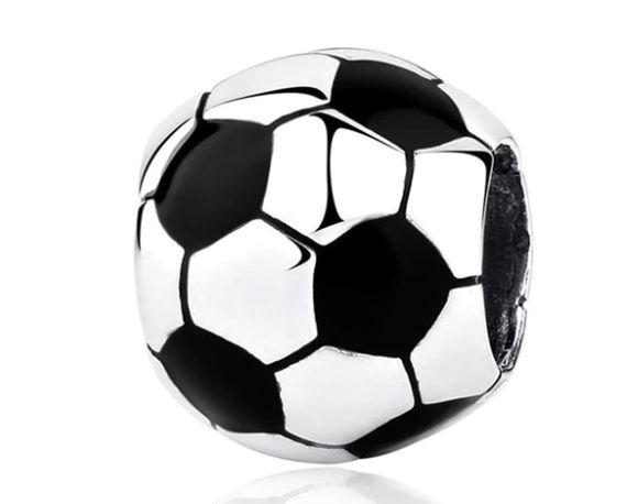 Charms PANDORA srebro 925 piłka nożna koralik okrągły emalia okazja ta