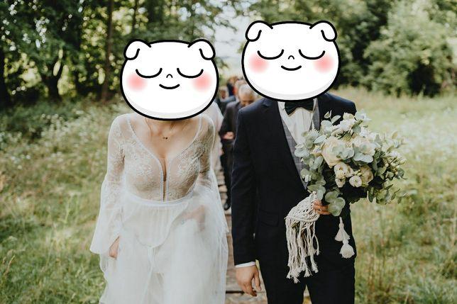 Suknia ślubna BOHO Marta Trojanowska koronka tiul