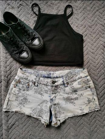 Krótkie Spodenki Jeansowe w Róże
