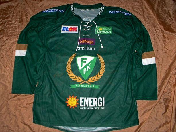 Коллекционная хоккейная джерси футболка Ферьестад БК с автографами
